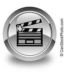 Cinema clip icon glossy white round button