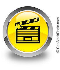 Cinema clip icon glossy yellow round button