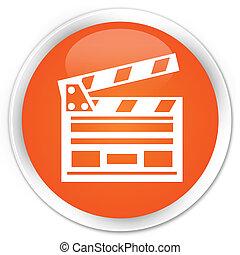 Cinema clip icon orange button