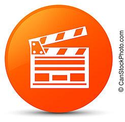 Cinema clip icon orange round button