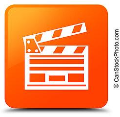 Cinema clip icon orange square button