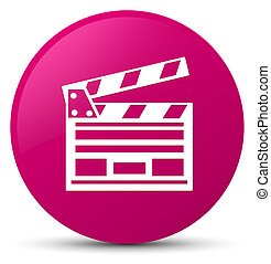 Cinema clip icon pink round button