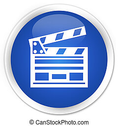 Cinema clip icon premium blue round button