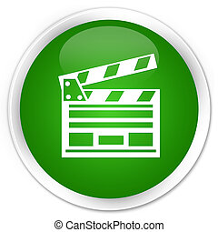 Cinema clip icon premium green round button