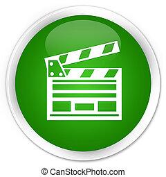 Cinema clip icon premium green round button