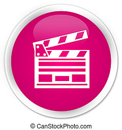 Cinema clip icon premium pink round button