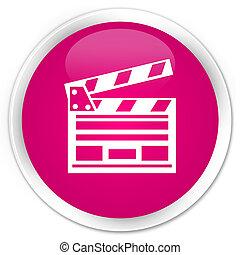 Cinema clip icon premium pink round button
