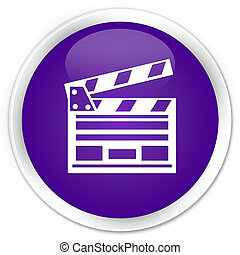 Cinema clip icon premium purple round button