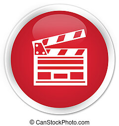 Cinema clip icon premium red round button