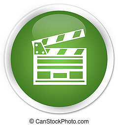 Cinema clip icon premium soft green round button