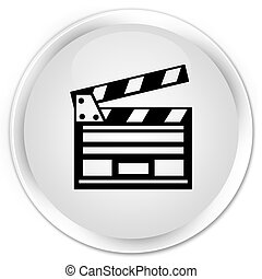 Cinema clip icon premium white round button