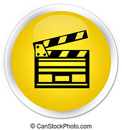 Cinema clip icon premium yellow round button