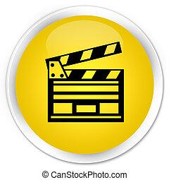 Cinema clip icon premium yellow round button