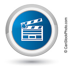 Cinema clip icon prime blue round button