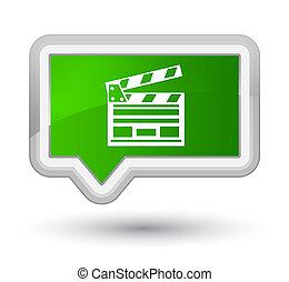 Cinema clip icon prime green banner button