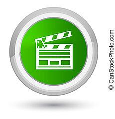 Cinema clip icon prime green round button