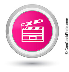 Cinema clip icon prime pink round button