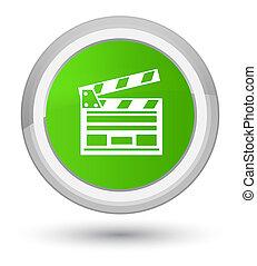 Cinema clip icon prime soft green round button