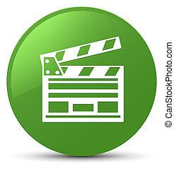 Cinema clip icon soft green round button