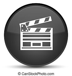 Cinema clip icon special black round button