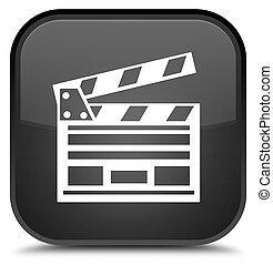 Cinema clip icon special black square button