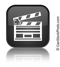 Cinema clip icon special black square button