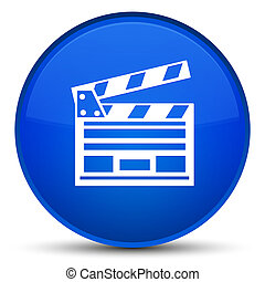 Cinema clip icon special blue round button
