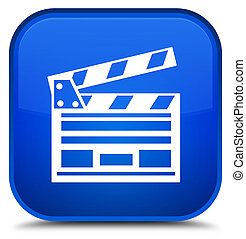 Cinema clip icon special blue square button