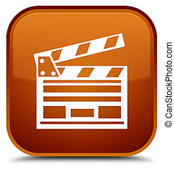 Cinema clip icon special brown square button