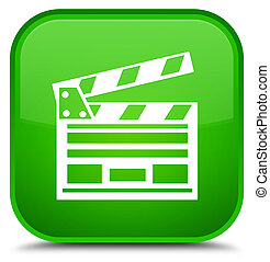 Cinema clip icon special green square button