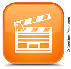 Cinema clip icon special orange square button