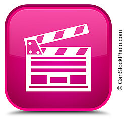 Cinema clip icon special pink square button