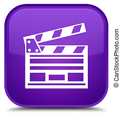 Cinema clip icon special purple square button