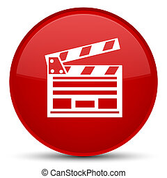 Cinema clip icon special red round button