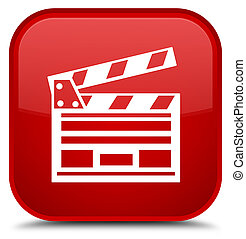 Cinema clip icon special red square button
