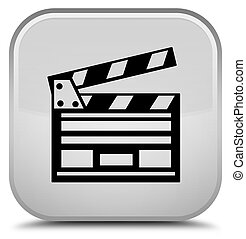 Cinema clip icon special white square button