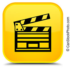 Cinema clip icon special yellow square button