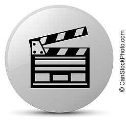 Cinema clip icon white round button