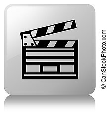 Cinema clip icon white square button