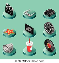 Cinema color isometric icons