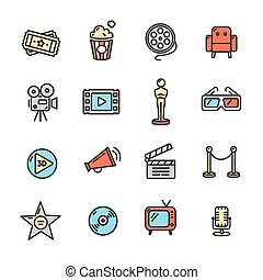 Cinema Colorful Outline Icon Set. Vector