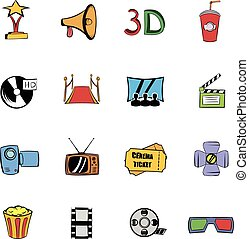 Cinema comics icons set cartoon