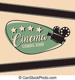 cinema coming soon movie film projector strip poster