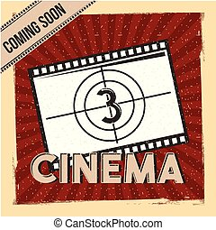 cinema coming soon poster film strip countdown red stripes background