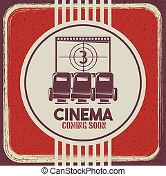 cinema coming soon poster retro style seats and film strip countdown