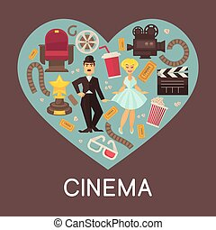 Cinema commercial banner with cinematographic symbols inside...