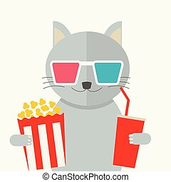 Cinema concept. Cat watching movie - Cinema concept, vector...