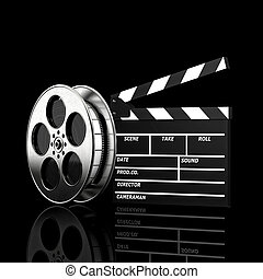 clapboard and film roll - cinema concept clapboard and film ...