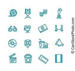 cinema concept illustration thin line flat design