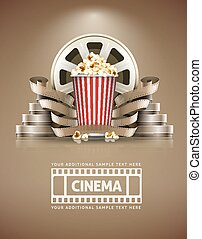 Cinema concept with popcorn and cinefilms retro style